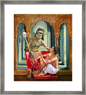 Yamaraja Answers The Questions Of Nachiketa Framed Print by Dominique Amendola