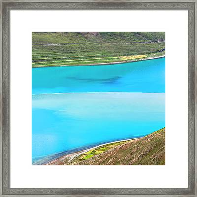 Yamdrok Abstract 1, Tibet, 2007 Framed Print by Hitendra SINKAR