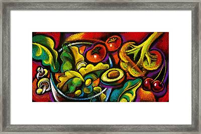 Yammy Salad Framed Print by Leon Zernitsky