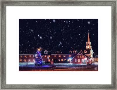 Yankee Magazine - Christmas In New England - White Steeple In Snow Framed Print by Joann Vitali