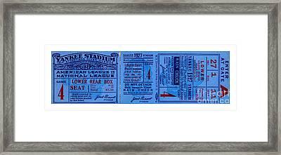 Yankee Stadium 1927 World Series Ticket Babe Ruth Game Framed Print