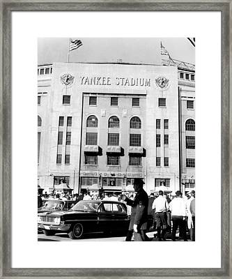 Yankee Stadium, Fans Arrive To Watch Framed Print by Everett