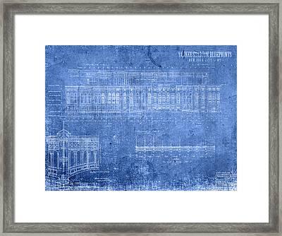 Yankee Stadium New York City Blueprints Framed Print
