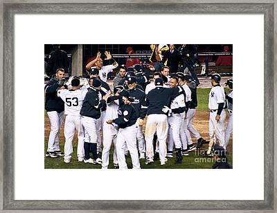 Yankees Celebrate Framed Print by Andrew Kazmierski