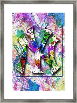 Yankees Splatter Art By Gbs Framed Print by Anibal Diaz