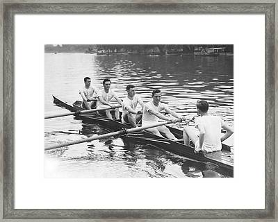 Yanks And Brits Race On Thames Framed Print by Underwood Archives