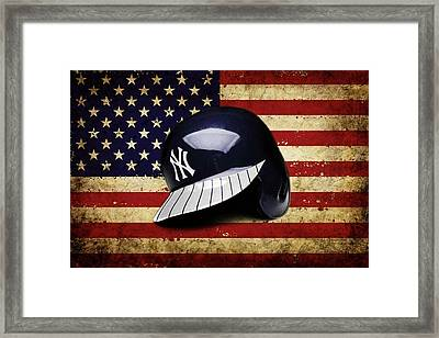 Yanks Batting Helmet Framed Print