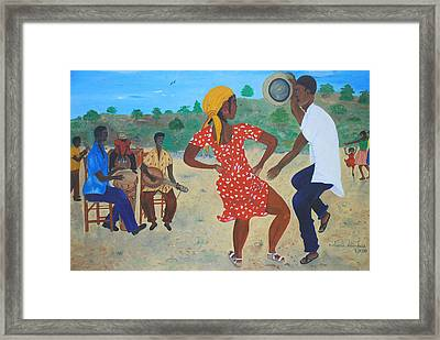Framed Print featuring the painting Yanvalou by Nicole Jean-Louis