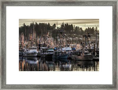 Framed Print featuring the photograph Yaquina Bay Boat Basin At Dawn by Thom Zehrfeld