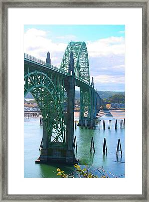 Yaquina Bay Bridge Br-9002 Framed Print by Mary Gaines