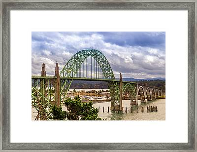 Framed Print featuring the photograph Yaquina Bay Bridge by James Eddy