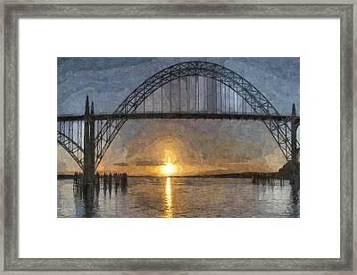 Yaquina Bay Sunset Framed Print by Thom Zehrfeld