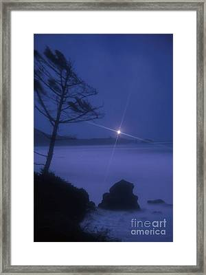 Yaquina Head At Night Framed Print