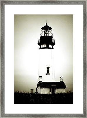 Yaquina Head Light - Haunted Oregon Lighthouse Framed Print