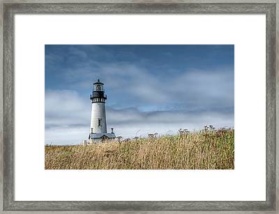 Framed Print featuring the photograph Yaquina Head Light by Thomas Gaitley