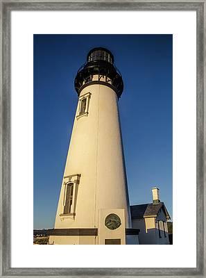 Yaquina Head Lighthouse Building Framed Print by Garry Gay