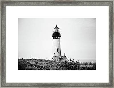 Yaquina Head Lighthouse - Bw Pov 1 Framed Print