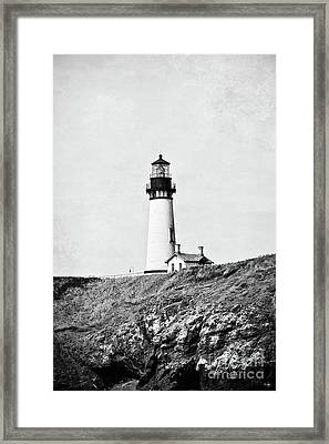 Yaquina Head Lighthouse -bw With Texture Framed Print