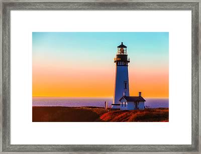 Yaquina Head Lighthouse Oregon Framed Print by Garry Gay