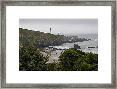Yaquina Head Lighthouse View Framed Print by Mick Anderson