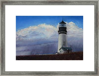 Yaquina Head Storm Framed Print by Carl Capps