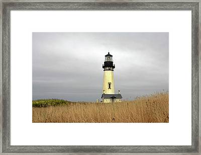 Yaquina Lighthouses - Yaquina Head Lighthouse Western Oregon Framed Print by Christine Till