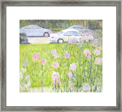 Yard Flowers  In Chicago Framed Print