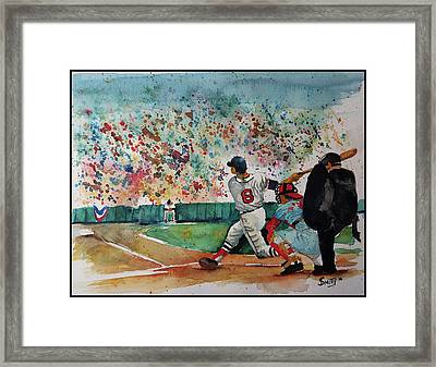 Yaz At The Plate Framed Print by Fred Smith