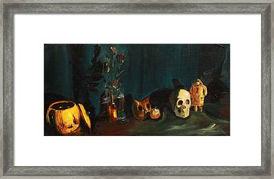 Framed Print featuring the painting Yeah Its Halloween by Jane Autry