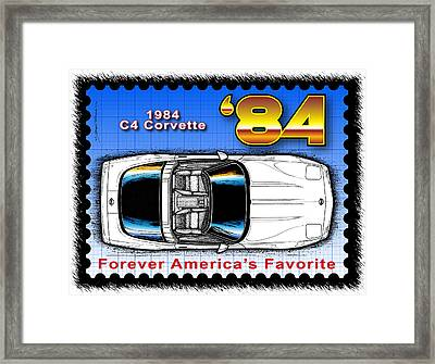 Year-by-year 1984 Corvette Postage Stamp Framed Print