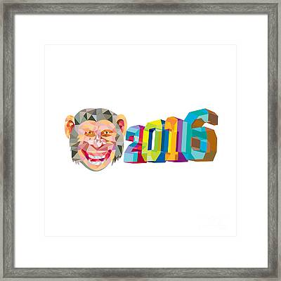 Year Of The Monkey 2016 Low Polygon Framed Print by Aloysius Patrimonio