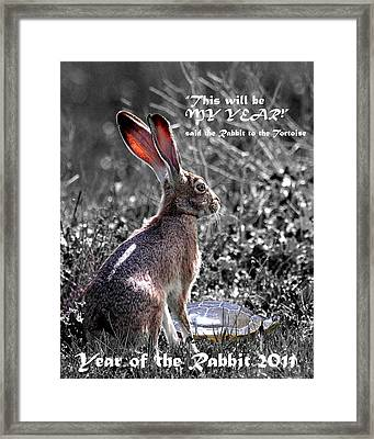 Year Of The Rabbit 2011 . Vertical Bw Framed Print by Wingsdomain Art and Photography
