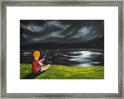 Framed Print featuring the painting Yel No Catch A Kelpie Wi That by Scott Wilmot