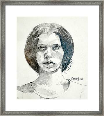 Framed Print featuring the drawing Yelena by Ray Agius
