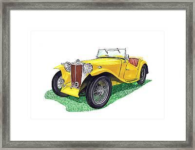 Yellow 1949 Mgtc Midget Framed Print by Jack Pumphrey