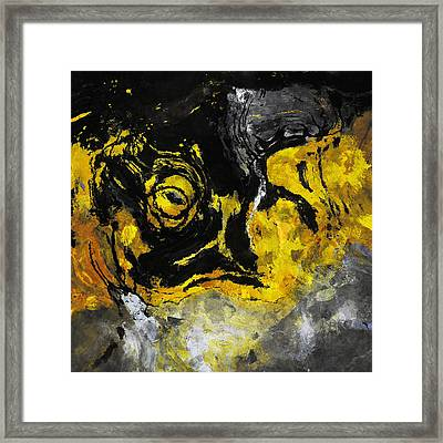 Yellow And Black Abstract Art Framed Print by Ayse Deniz