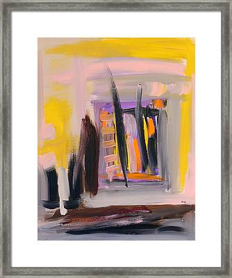 Yellow And Black Abstract Framed Print by Maggis Art