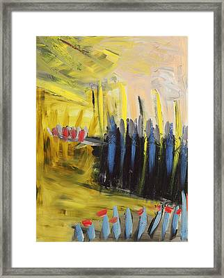 Yellow And Blue Abstract Framed Print by Maggis Art