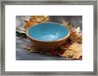 Yellow And Blue Bowl Framed Print