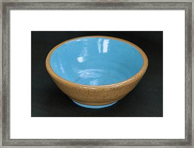 Yellow And Blue Ceramic Bowl Framed Print by Suzanne Gaff