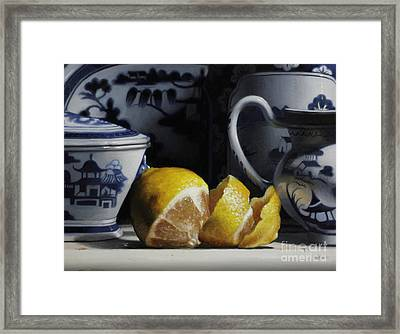 Yellow And Blue  Framed Print by Larry Preston