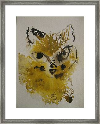 Framed Print featuring the drawing Yellow And Brown Cat by AJ Brown