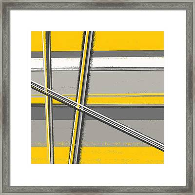 Yellow And Gray Abstract Art Framed Print by Lourry Legarde
