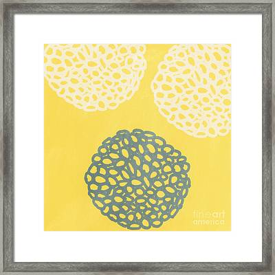 Yellow And Gray Garden Bloom Framed Print by Linda Woods