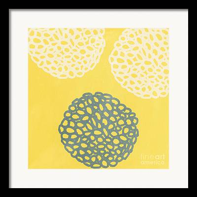 Yellow And Gray Framed Prints