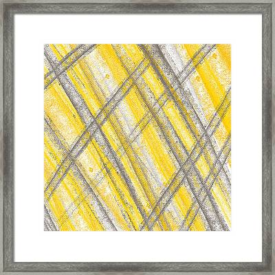 Yellow And Gray Lines Framed Print by Lourry Legarde