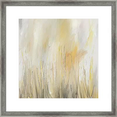 Yellow And Gray Modern Wall Art Framed Print by Lourry Legarde