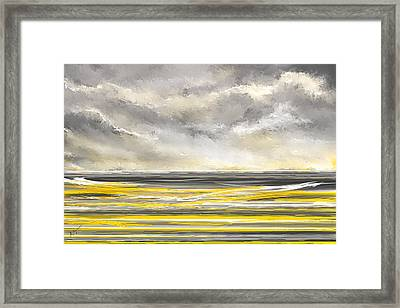 Yellow And Gray Seascape Art Framed Print by Lourry Legarde