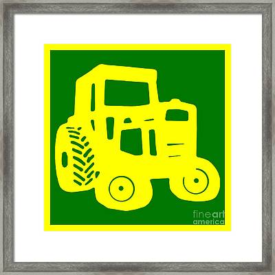 Yellow And Green Emblem Design Framed Print