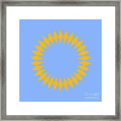 Mandala Yellow And Light Blue Abstract Square Framed Print